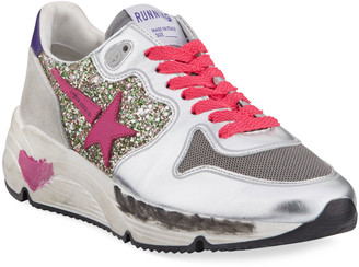 Golden Goose Metallic Glittered Lace-Up Running Sneakers