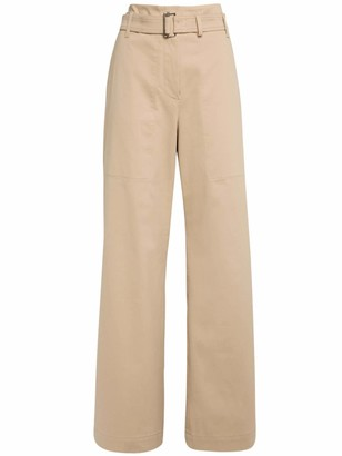 Max Mara Belted Cotton Twill High Waist Pants