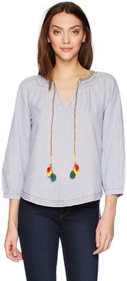 Velvet by Graham & Spencer Women's Neena Embroidered Smocked Shirt