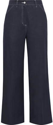 Iris & Ink Sapphire Cotton-blend Twill Wide-leg Pants