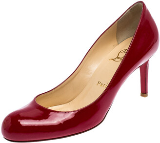 Christian Louboutin Red Patent Leather Simple Pumps Size 37.5