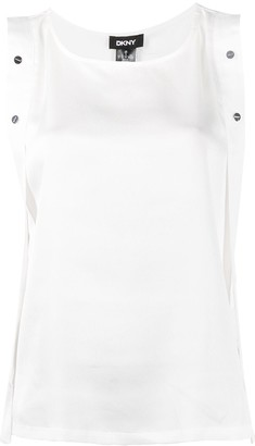 DKNY Button Embellished Sleeveless Blouse