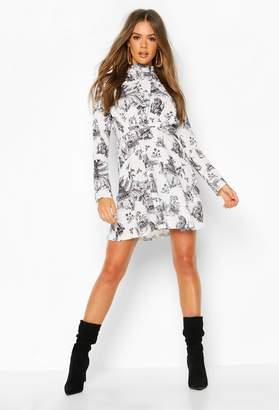 boohoo Landscape Print High Neck Fit & Flare Dress