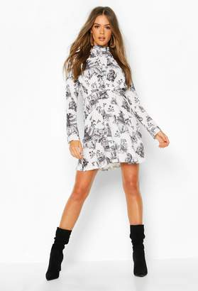 boohoo Landscape Print High Neck Fit & Flare Dress