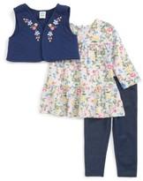 Little Me Infant Girl's Floral Vest, Shirt & Pants Set