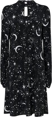 Wallis Black Star Print High Neck Swing Dress