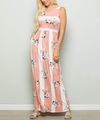 Celeste Women's Maxi Dresses CORAL - Coral & White Stripe & Floral Pocket Sleeveless Maxi Dress - Women & Plus