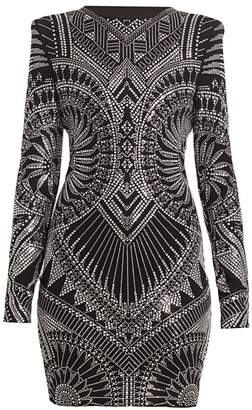 Balmain Strass Jersey Mini Dress