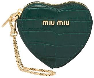 Miu Miu Crocodile Print Heart Keychain
