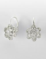 BETSEY JOHNSON Silvertone Crystal Pavé Flower Earrings