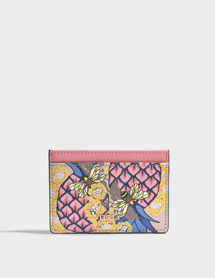 Furla Babylon Small Credit Card Case in Magnolia Saffiano Leather