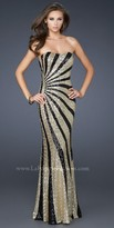 La Femme Radial Gold Sequin Stripe Prom Dresses