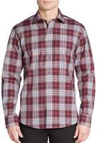 Bugatchi Shaped-Fit Plaid Cotton Sportshirt