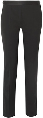 Victoria Beckham Satin-trimmed Stretch-wool Slim-leg Pants