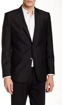 Versace Textured Black Two Button Notch Lapel Jacket