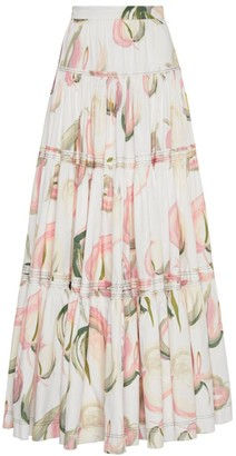 Aje Imprint Tiered Maxi Skirt