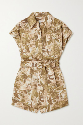 Zimmermann Brighton Belted Printed Linen Playsuit - Army green