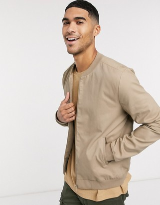 New Look lightweight cotton bomber jacket in stone