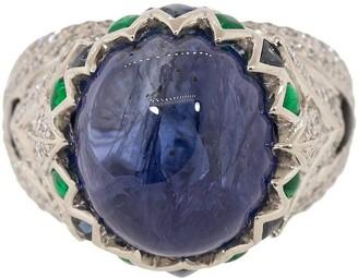 SABOO FINE JEWELS Blue Sapphire, Emerald, Diamond and Jade Ring