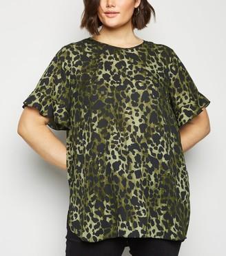 New Look Curves Chiffon Leopard Print Top