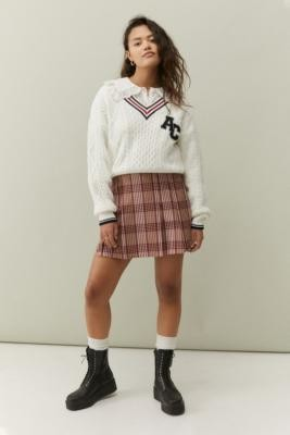 Urban Outfitters Boxy Pleated Kilt - Pink S at
