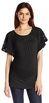 Three Seasons Maternity Women's Maternity Short Sleeve Lace Yoke Solid Top