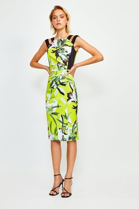 Karen Millen Italian Stretch Neon Lily Pencil Dress