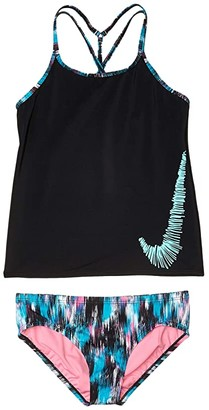 Nike Kids Sprinkles T-Cross-Back Tankini Set (Little Kids/Big Kids) (Black) Girl's Swimwear Sets