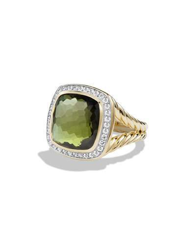 David Yurman Albion Ring with Green Orchid and Diamonds in Gold, Size 6