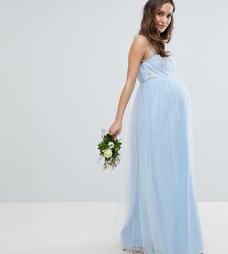 Chi Chi London Maternity Bardot Neck Sleeveless Maxi Dress with Premium Lace and Tulle Skirt