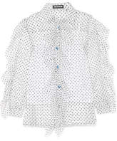 House of Holland Ruffled Swiss-dot Tulle Shirt - White