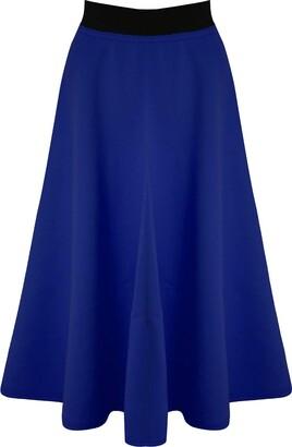 Be Jealous Women Long Skirt Mid Length Scuba Stretchy Flared Swing Skater Midi New Black - Seamless Swing Skater Dress Fit Plus Size UK 20/22