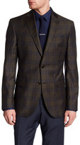 Ted Baker Jay Brown Plaid Two Button Notch Lapel Wool Jacket