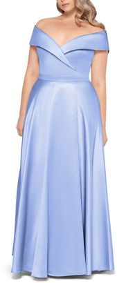 Xscape Evenings Off the Shoulder Satin Ballgown