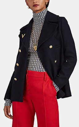 Valentino Women's Wool Cavalry Twill Double-Breasted Peacoat - Navy