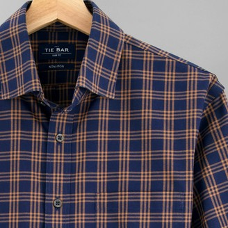 Tie Bar Checked Flannel Navy Casual Shirt