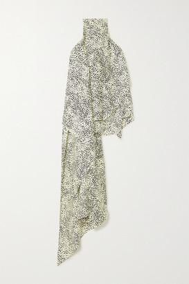 Petar Petrov Cameron Asymmetric Printed Silk-twill Halterneck Top - Black