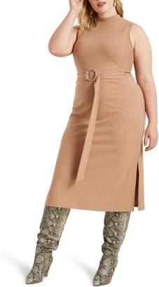 ELOQUII Ribbed Belted Sleeveless Midi Dress
