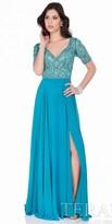 Terani Couture Short Sleeve Rhinestone Beaded Evening Dress