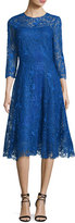 Rickie Freeman For Teri Jon Lace Fit & Flare Midi Dress, Royal Blue