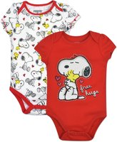 "Peanuts Baby Girls' Snoopy Onesies 2-Pack - , ""Free Hugs"""