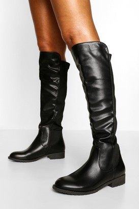 boohoo Knee High Stretch Riding Boot