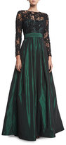 Rickie Freeman For Teri Jon Lace Long-Sleeve Beaded Top Taffeta Full Skirt Evening Gown
