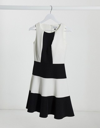 Closet London Closet panelled skater dress in colourblock