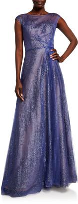 Rene Ruiz Collection Metallic Organza Cap-Sleeve Gown