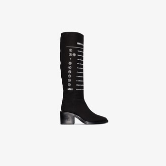 MM6 MAISON MARGIELA Black 75 Printed Leather Knee-High Boots