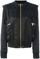 Balmain structured shoulder bomber jacket - women - Polyamide/Spandex/Elastane/Cupro/Viscose - 36