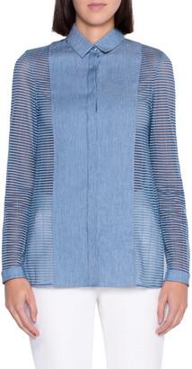 Akris Grid Sleeve Gabardine Shirt