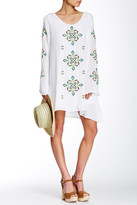 Green Dragon Embroidered Shift Dress