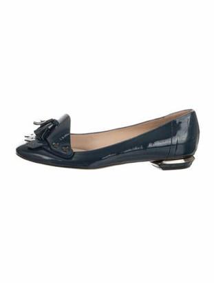 Nicholas Kirkwood Patent Leather Square-Toe Loafers Blue